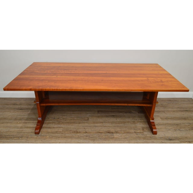 Arts & Crafts Style Custom Quality Cherry Trestle Dining Table For Sale In Philadelphia - Image 6 of 13