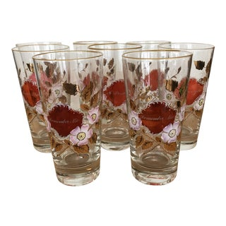 Rare Vintage Hand-Painted Moments Collins Glasses - Set of Eight For Sale