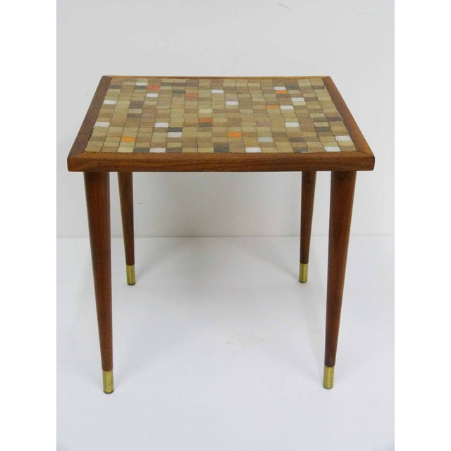 Mid Century Mosaic Tile Side Table - Image 2 of 7