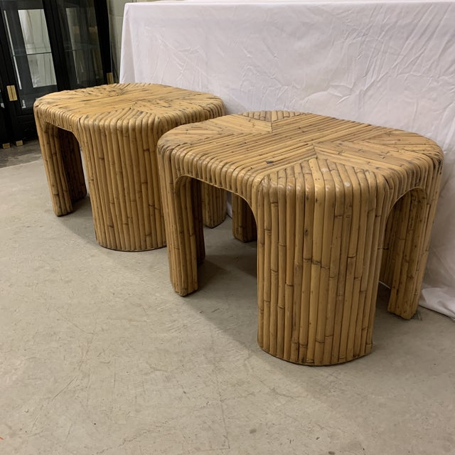 Hard to find pair! Vintage split reed waterfall tables could easily be a coffee table side by side or end tables. These...