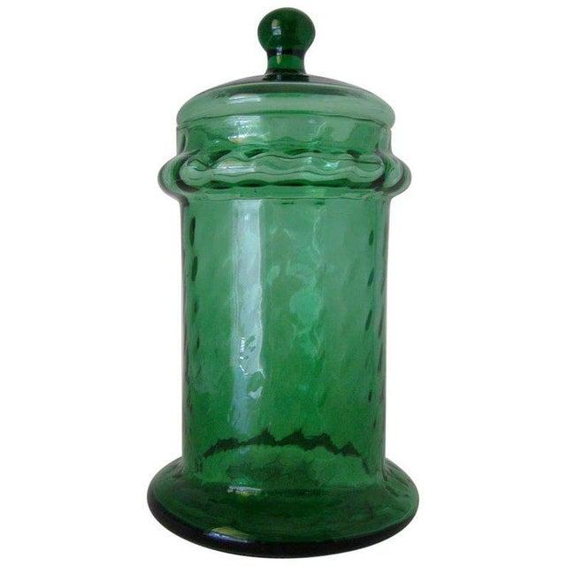 1960s Italian Empoli Green Optic Art Glass Apothecary Jar For Sale - Image 5 of 5