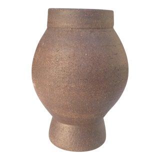Architectural Pottery   Designer Modern Chocolate Brown Stoneware Ceramic Vase   Decorative Vases   Flower Vases   Pottery For Sale