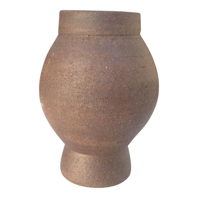 Architectural Pottery | Designer Modern Chocolate Brown Stoneware Ceramic Vase | Decorative Vases | Flower Vases | Pottery For Sale