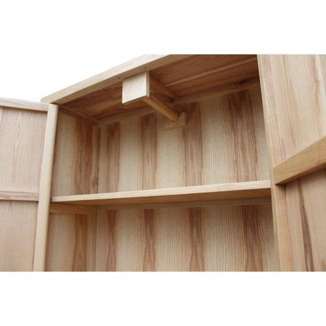 Wood Minimalist Light Raw Wood Shutter Doors Bookcase Display Dresser Cabinet For Sale - Image 7 of 9