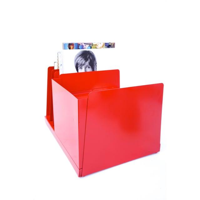 Enamel Mid-Century Industrial RED Steelcase File Rack For Sale - Image 7 of 9