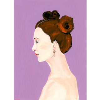 """""""Profile Portrait With Pearl Earring and Top Knots"""" Contemporary Gouache Painting by Alexandra Swistak For Sale"""