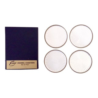 Vintage Pearl White Enamel Coasters - Set of 4