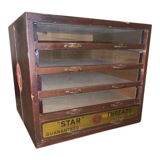 Antique Star Thread 5 Drawer Glass Front Display Cabinet For Sale