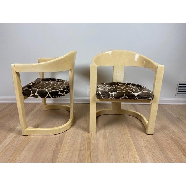 Karl Springer Karl Springer Onassis Goatskin Chairs - a Pair For Sale - Image 4 of 6