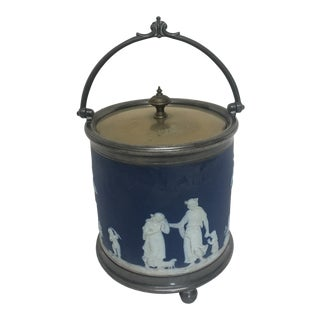 19th Century Antique Wedgwood Blue Jasper Biscuit Jar With Silver Base Lid and Handle. The Jar Features Lovely Figures, Wildlife and Landscape Designs For Sale