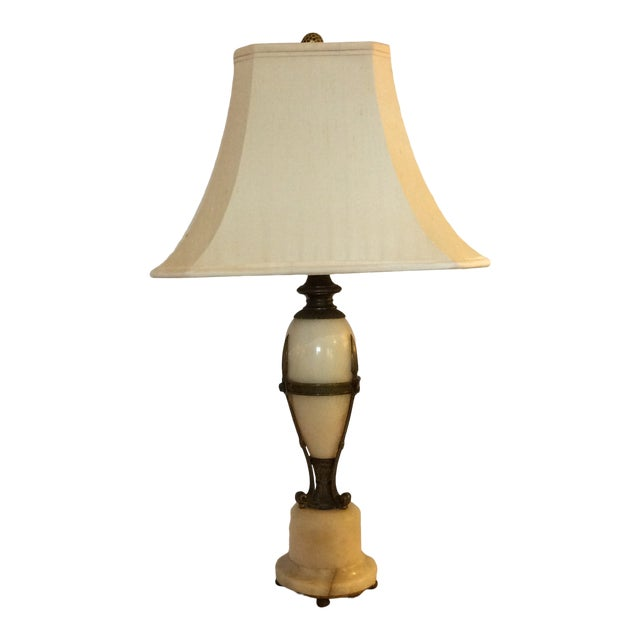 Antique Alabaster and Bronze Lamp For Sale