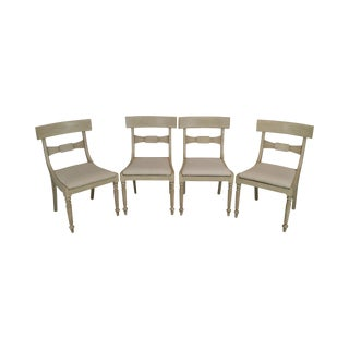 Baker Milling Road White Painted Regency Style Set 4 Dining Chairs For Sale