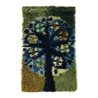Mid Century Scandinavian Rya Rug Wall Hanging For Sale