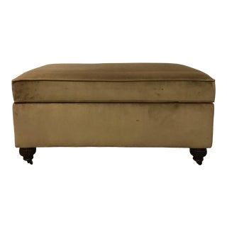 Transitional Henredon Camel Brown Velvet Ottoman on Casters For Sale
