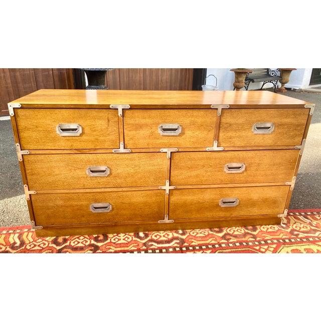 1970s Mid Century Modern Bernhardt Walnut Campaign Dresser For Sale - Image 13 of 13