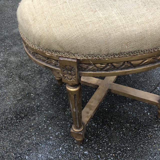 Traditional 1970s Vintage Gilded X Base Burlap Stool For Sale - Image 3 of 6