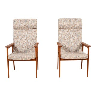 Pair, Danish Modern Tallback Easy Chairs For Sale