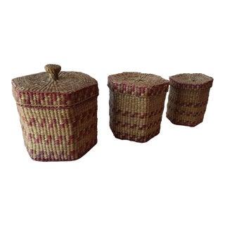 Bohemian Boho Grass Nesting Baskets- Set of 3 For Sale