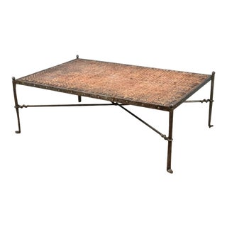 Vintage Italian Wrought Iron and Rattan Coffee Table For Sale
