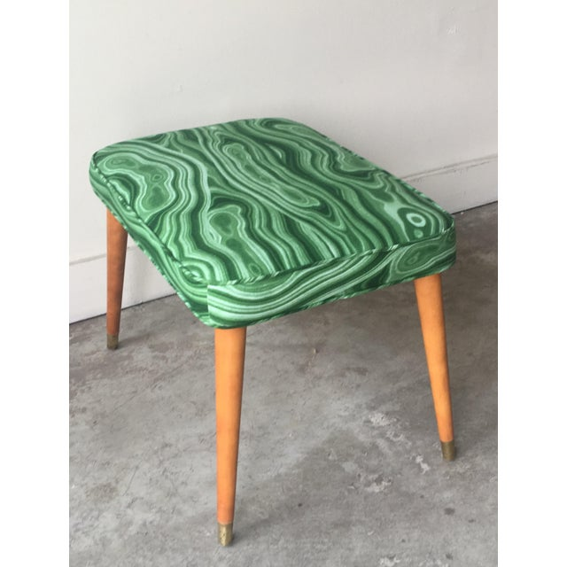 Mid-Century Modern Malachite Green Upholstered Stool For Sale In San Francisco - Image 6 of 9