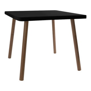 "Tippy Toe Small Square 23.5"" Kids Table in Walnut With Black Finish Accent For Sale"