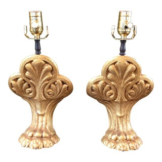 Gold Cast Iron Lion's Paw Table Lamps - A Pair For Sale