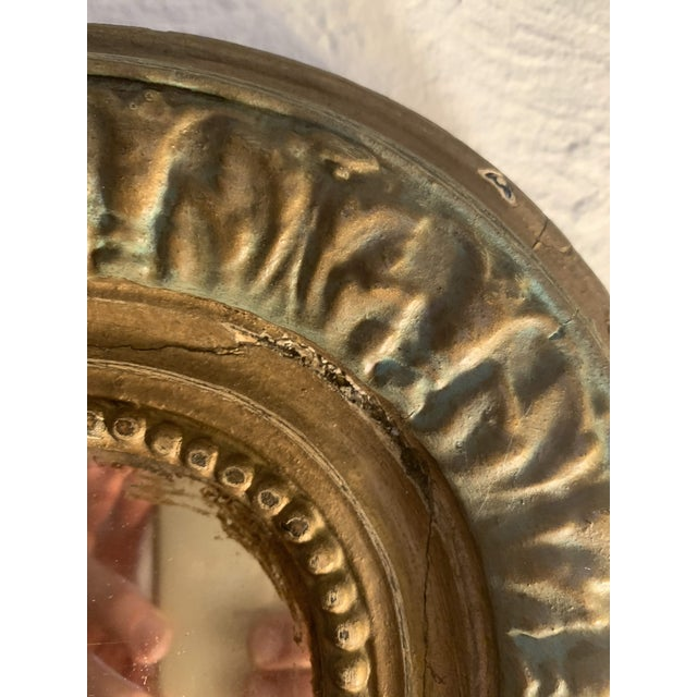 Gold 1880 Antique French Charles X Style Green and Gold Painted Wall Mirror For Sale - Image 8 of 12