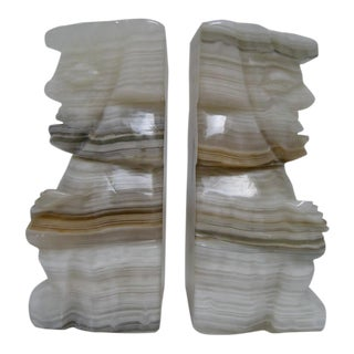 Large Aztec Onyx Bookends - a Pair For Sale