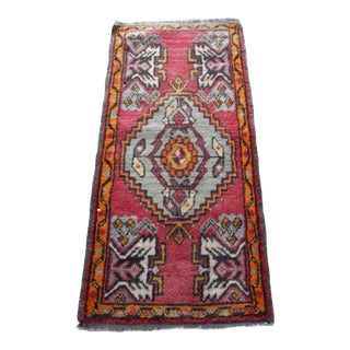 Hand Knotted Rug Turkish Tribal Miniature Area Rug For Sale