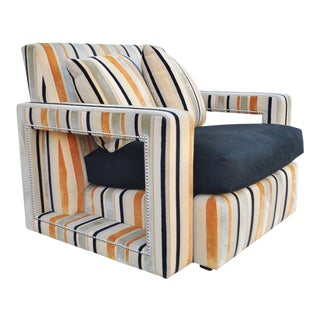Large Hollywood Regency Modern Striped Upholstered Lounge Club Movie Arm Chair