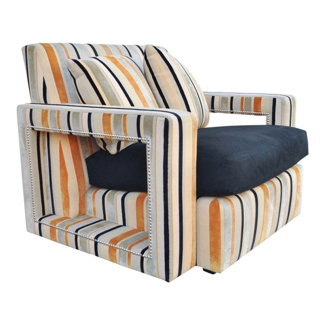 Large Hollywood Regency Modern Striped Upholstered Lounge Club Movie Arm Chair For Sale