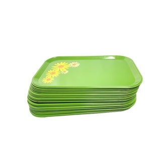 Vintage Mid Century Green Metal Snack Trays With Floral Designs, Made in America - 24 Pieces For Sale