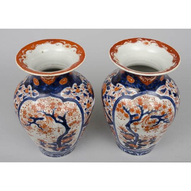 Imari Porcelain Pair of Japanese Imari Open Vases, circa 1870 For Sale - Image 4 of 7