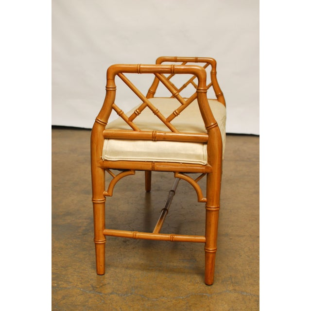 Hollywood Regency Faux Bamboo Chippendale Bench - Image 5 of 6