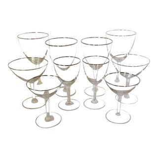 2 Place Settings of Fostoria Crystal Platinum Rim Glasses - Total 10 For Sale