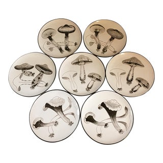 Vintage Mid-Century Modern Mushroom Plates - Set of 7 For Sale