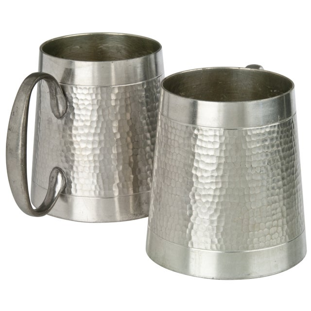 Vintage Malaysian Hammered Pewter Mugs - a Pair - Image 2 of 3