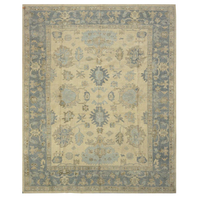 New Turkish Oushak Rug - 7'10'' x 9'5'' For Sale