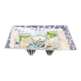 Contemporary Modern Rike Moss Signed Ceramic Pottery Centerpiece Tray Legs 1980s For Sale