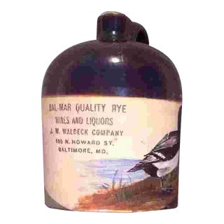 American Painted Glazed Pottery Whiskey Jug C.1910 For Sale