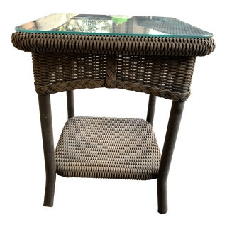 Country Lloyd Flanders Outdoor Side Table For Sale