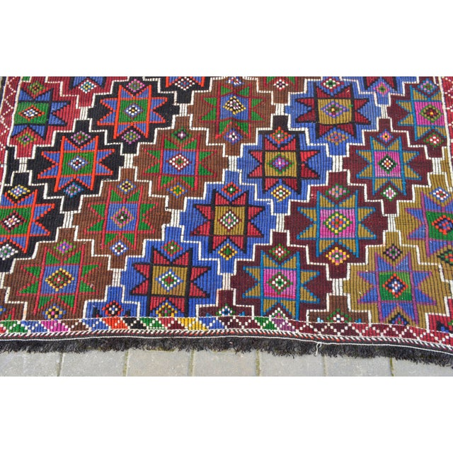 Handwoven Turkish Kilim Rug. Traditional Oushak Area Rug Braided Kilim - 6′ X 13′5″ For Sale - Image 9 of 12