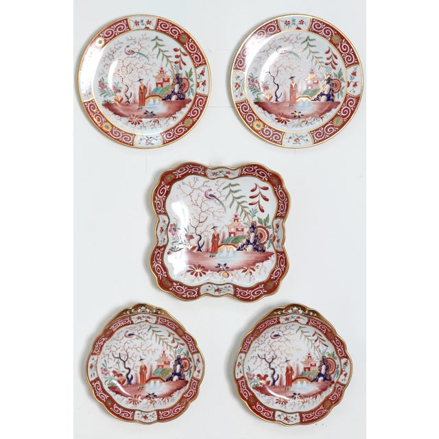 A Chamberlain's Worchester, Flight, Barr and Barr English porcelain 24 piece dessert service with Chinoiserie pattern,...