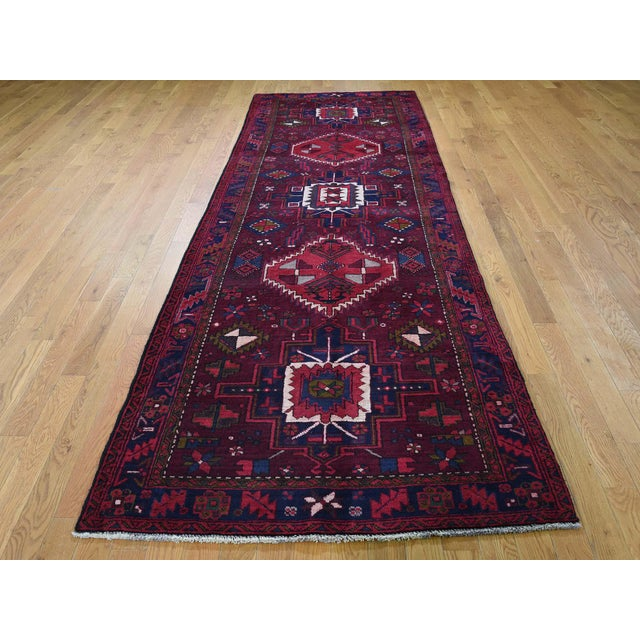 Red Northwest Persian Heriz Wool Hand-Knotted Runner- 3′10″ × 11′6″ For Sale - Image 8 of 8