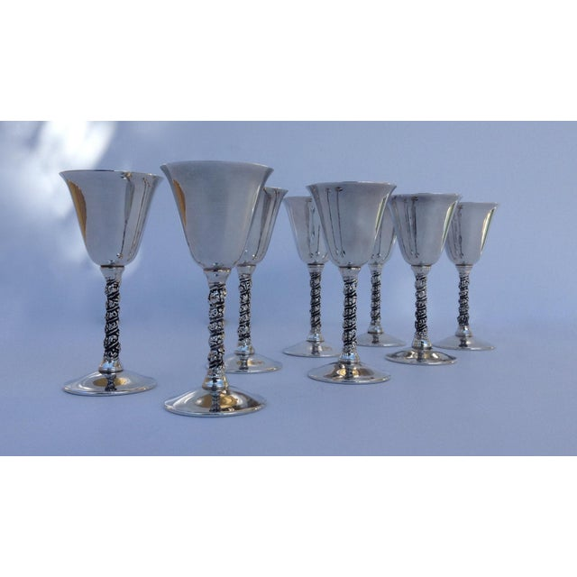 "Baroque Vintage Silver Plate Spanish ""Valerio"" Drinks Cordials - Set of 8 For Sale - Image 3 of 11"