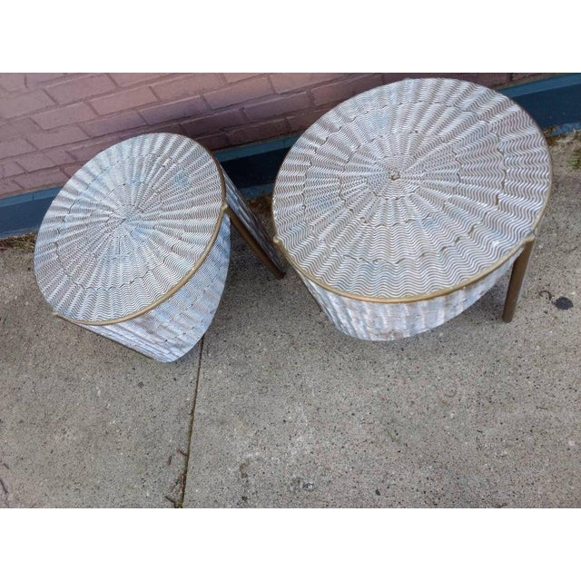 Art Deco Ooak 1980s Artisan Angular Metallic Textural Silver and Gold Side Tables - a Pair For Sale - Image 3 of 9