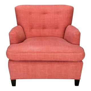 1940s Raspberry Red Linen Dunbar Style Club Chair