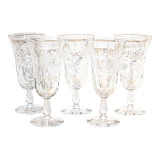 1920s Hollywood Regency Water / Wine Glass Goblets - Set of 5 For Sale
