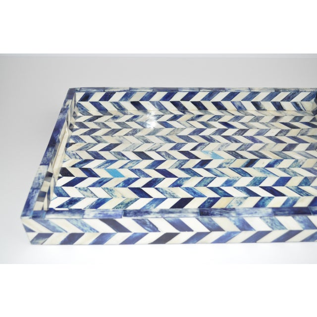 Boho Chic Susanna Chevron Bone Tray in Blue and Ivory For Sale - Image 3 of 6