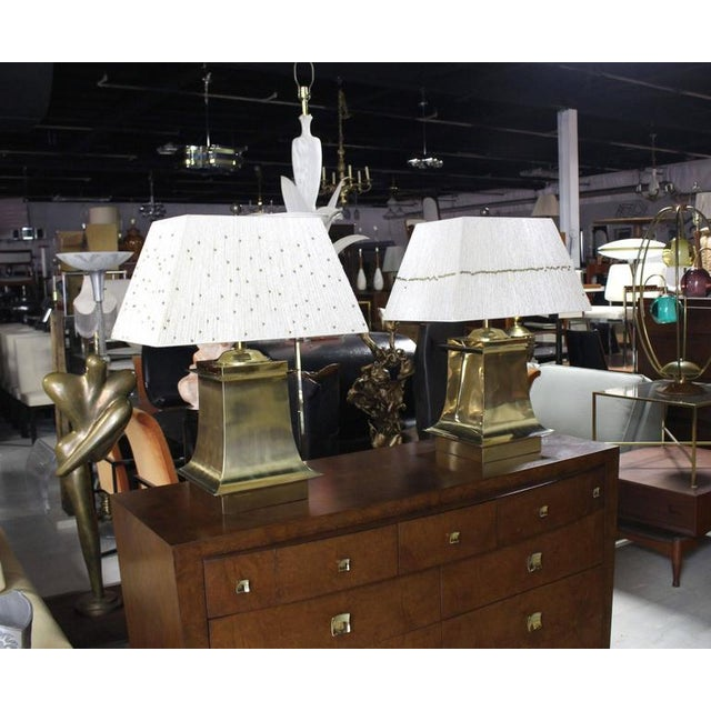 Gold Mid-Century Modern Brass Beads Shade & Brass Base Table Lamps -A Pair For Sale - Image 8 of 8